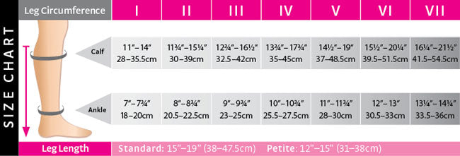 Vitality Compression Sock Size Chart