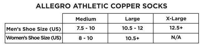 Allegro Copper Athletic sock size chart