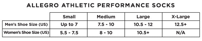 Allegro Athletic Performance Sock size chart