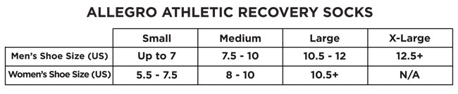 Allegro Athletic Recovery Sock size chart