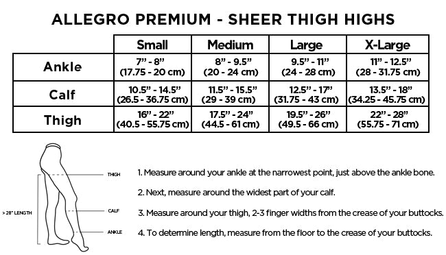 Allegro Premium Sheer Thigh High Size Chart