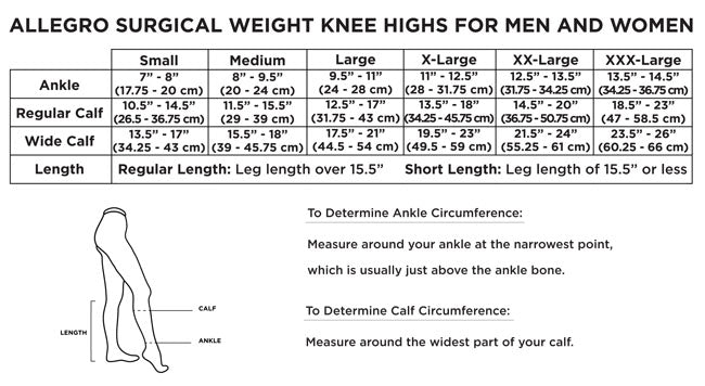 Allegro Surgical Knee High 20-30mmHg SHORT LENGTH - # 200/201