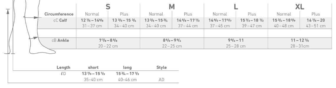 Bauerfeind Ball and Racket Sport Sock Size Chart