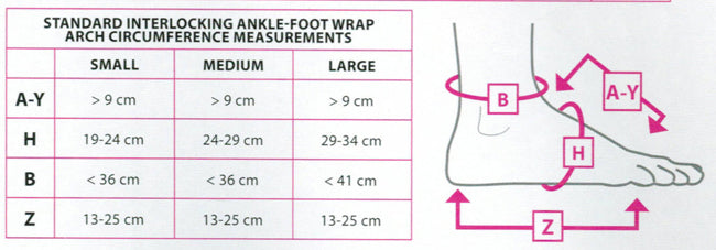 Juxta Fit Interlocking Foot Wrap size chart