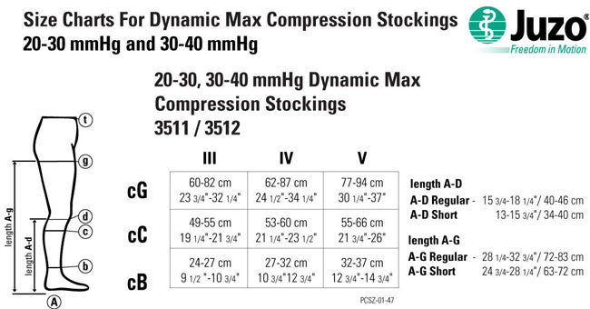 Juzo Dynamic MAX 3512 Thigh High 30-40mmHg