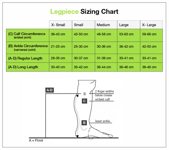 FarrowWrap Strong Legpiece size chart