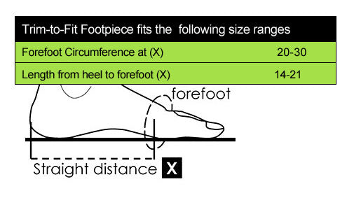 Farrow Trip to Fit foot Size Chart