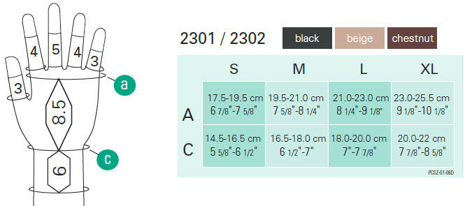Juzo 2301-2302 Gauntlet and Glove Size Chart