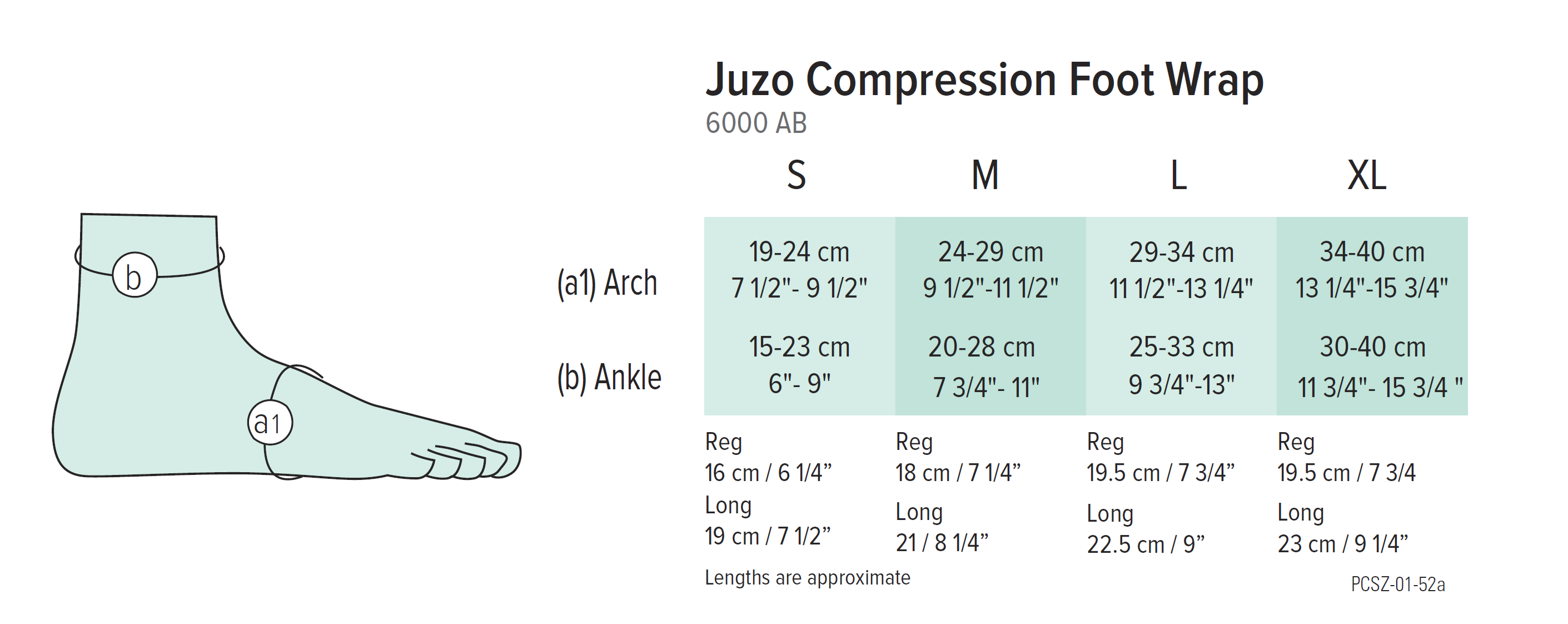 Juzo Foot Compression Wrap Size Chart
