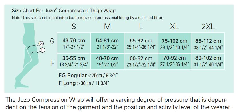 Juzo Thigh Compression Wrap Size Chart