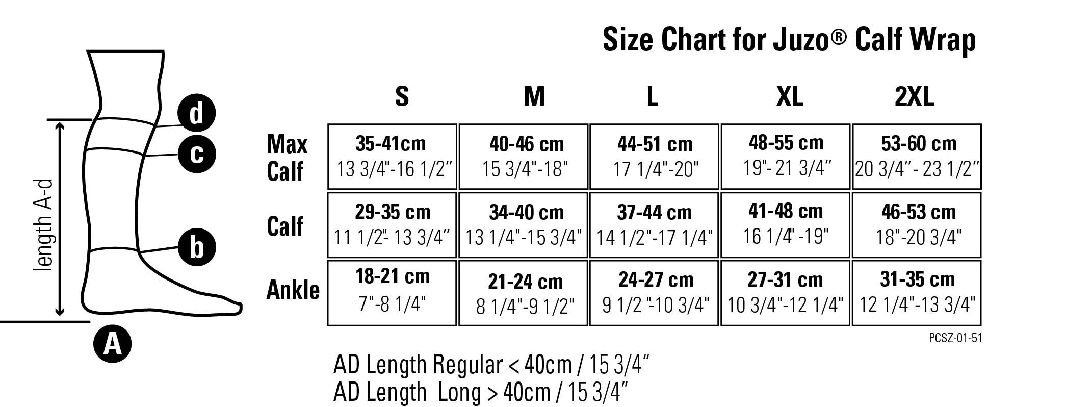 Juzo Compression Wrap Size Chart