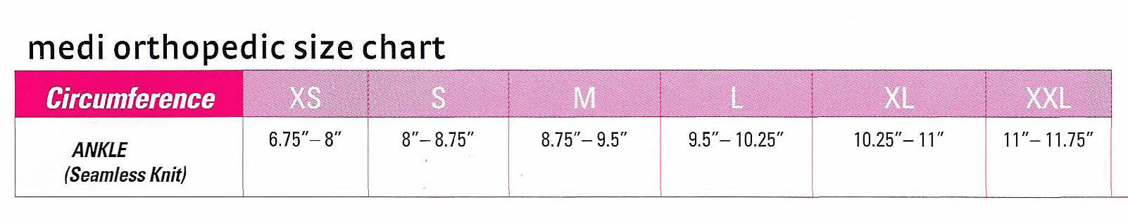 Medi Ankle Support Size Chart