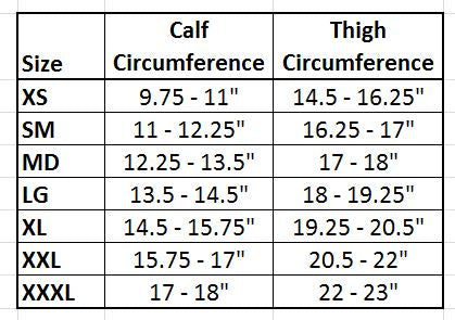 Medi Knee Support Size Chart
