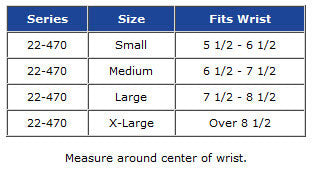 Pro Lite low profile wrist support size chart