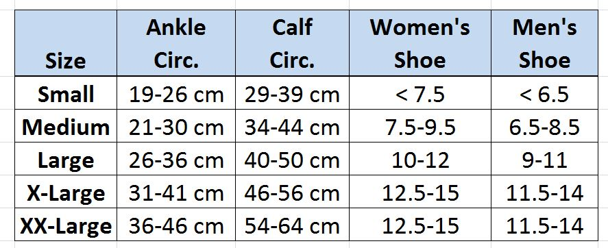 Transition Liner size chart - BiaCare