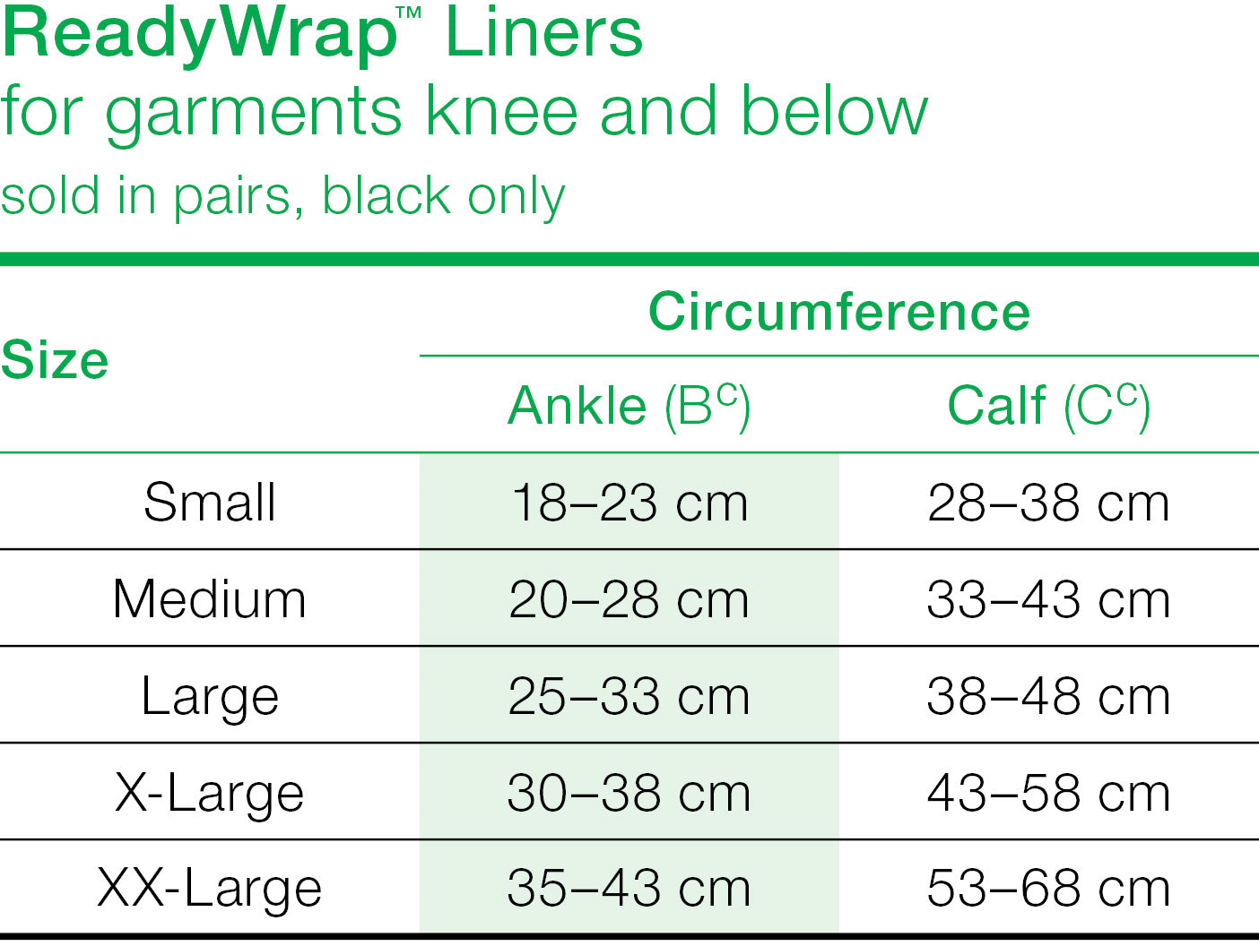 Solaris ReadyWrap Liner Below Knee size chart