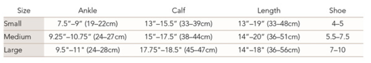Therafirm women's trouser sock size chart