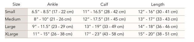 TheraSport Athletic Recovery Sock size chart