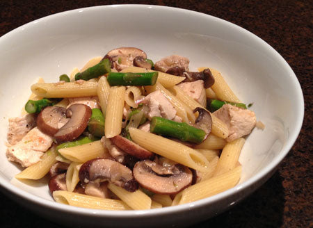 pasta with chicken, mushrooms and asparagus