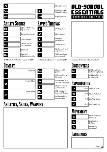 Old-School Essentials Purist Character Sheet (Ascending AC Version) [PDF]
