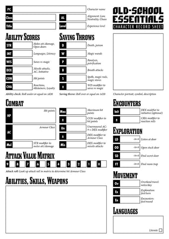 Old-School Essentials Purist Character Sheet [PDF]