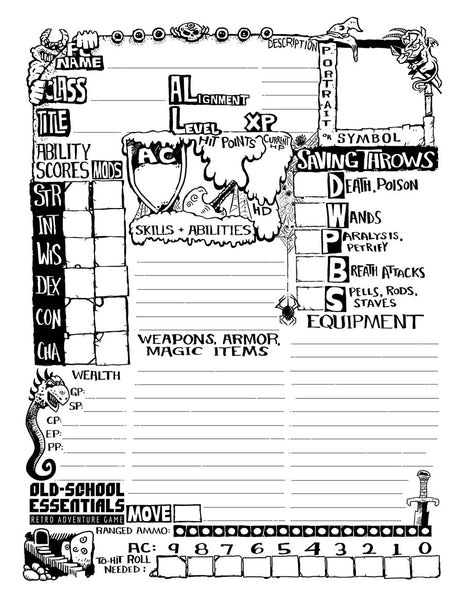 Old-School Essentials Underground Character Sheet [PDF]