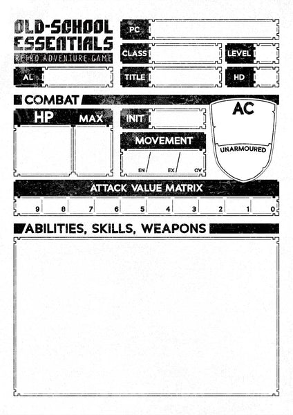 Old-School Essentials Vagabond Character Sheet (A4 Landscape) [PDF]