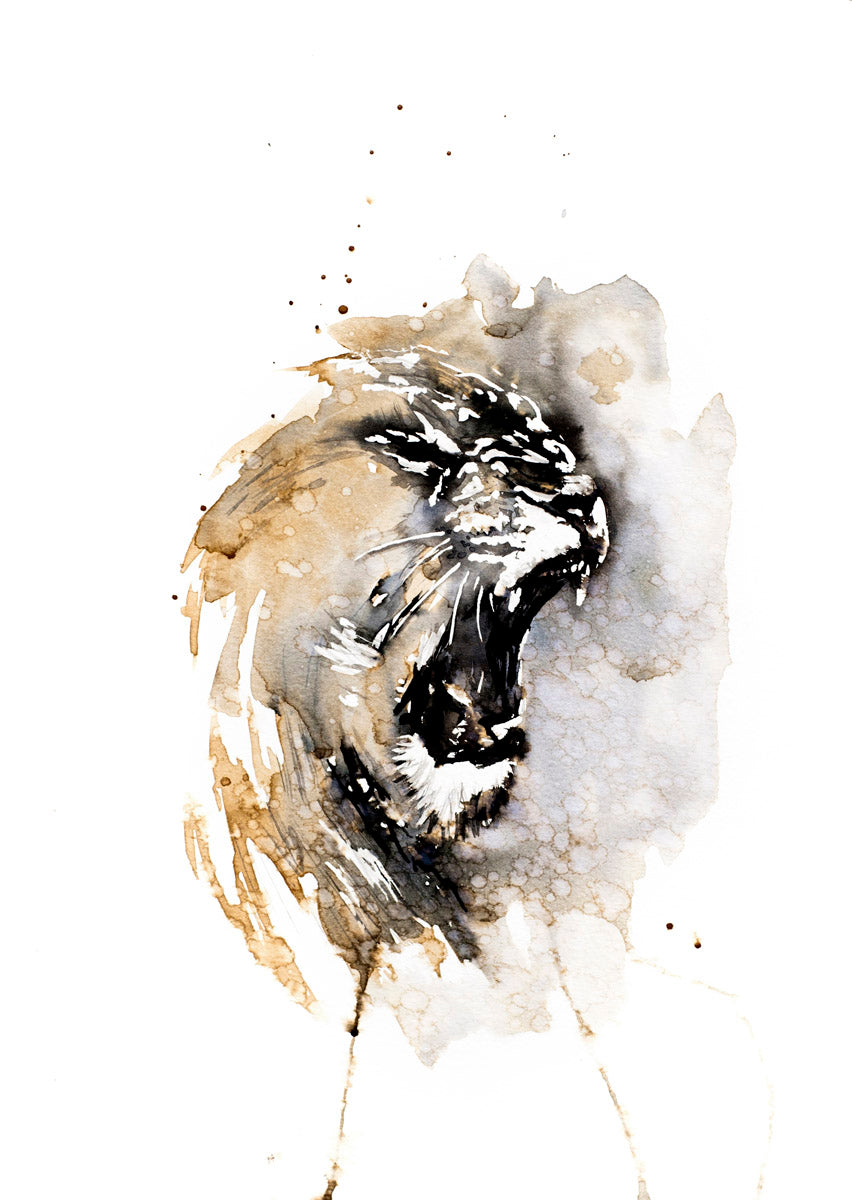 Lioness (original coffee & ink)