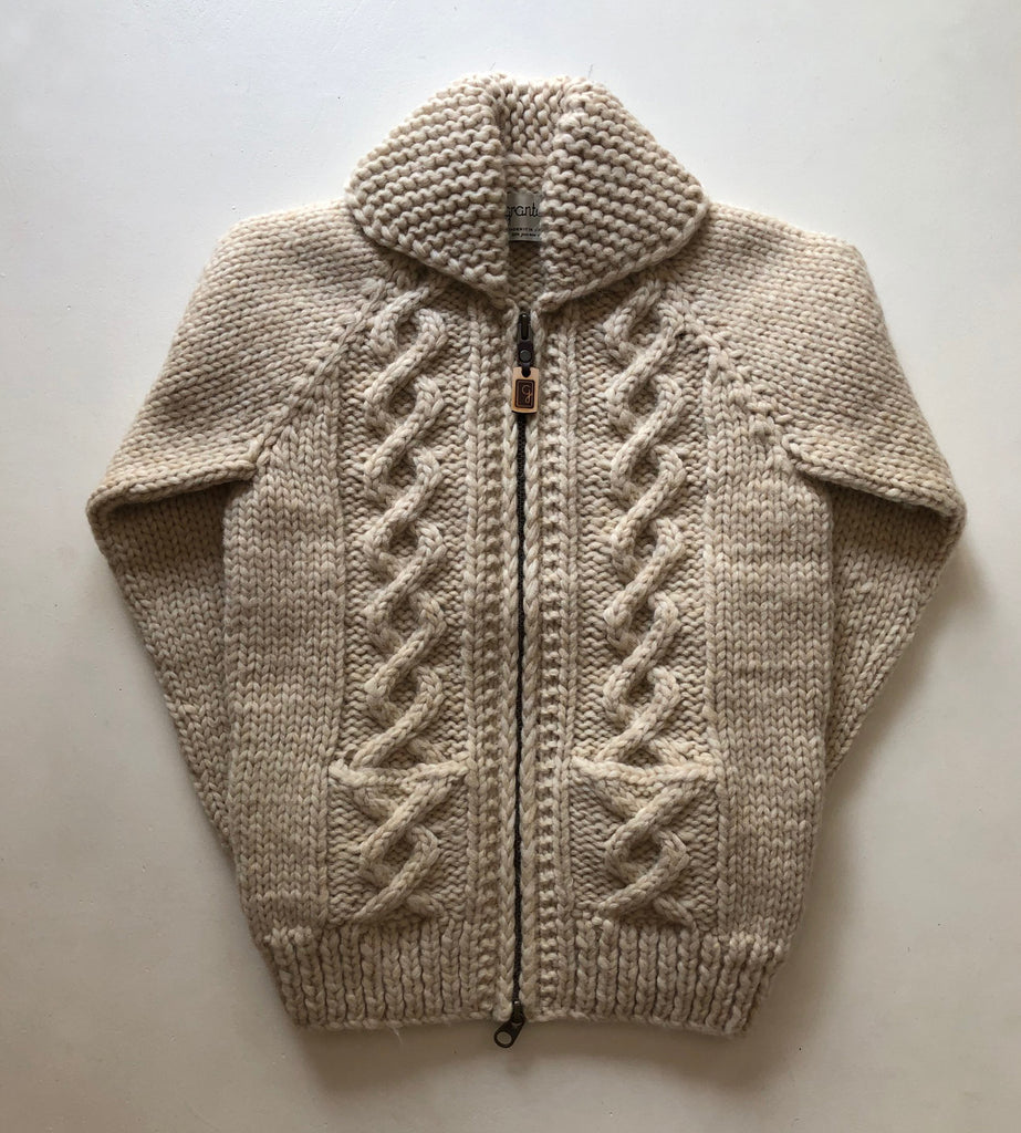 SAMPLE SALE* Raglan Sleeve Cable Knit Zip - Ivory