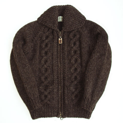 Raglan Sleeve Cable Knit Zip - Brown