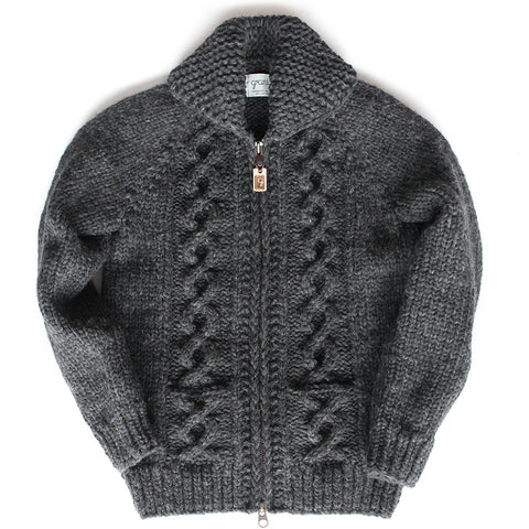 Raglan Sleeve Cable Knit - Charcoal Zipper