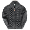 Raglan Sleeve Cable Knit Zip - Charcoal