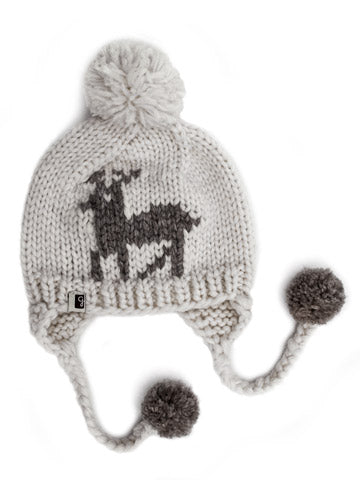 Deer Toque Pom - White