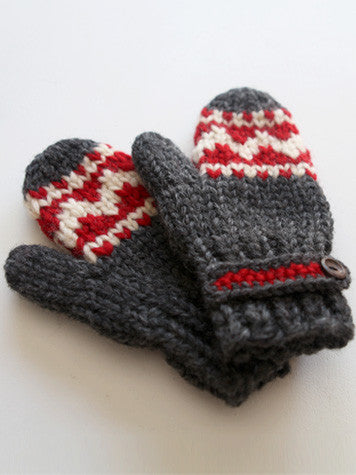 Mittens with Strap - Red