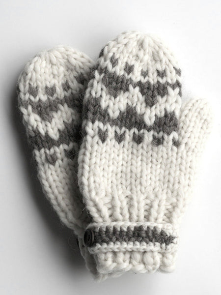 Mittens with Strap - White