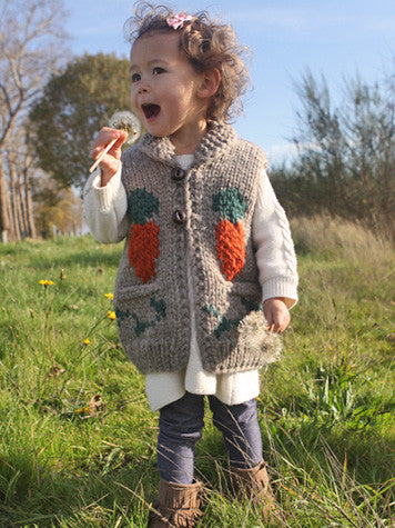 model wearing kids rabbit vest