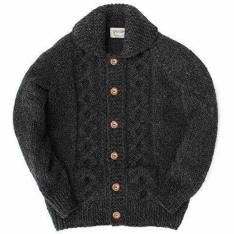 Raglan Sleeve Cable Knit - Charcoal Button (M)