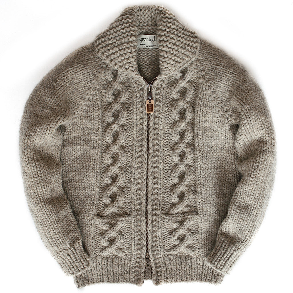 Raglan Sleeve Cable Knit - Lt Grey Zipper