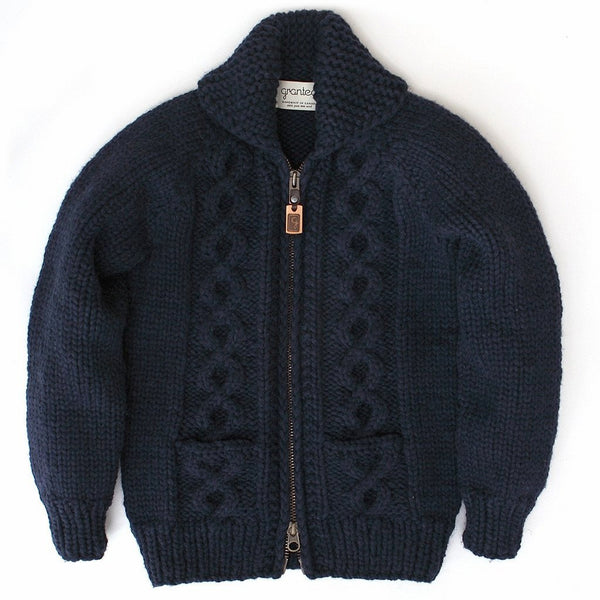 Raglan Sleeve Cable Knit Zip - Navy
