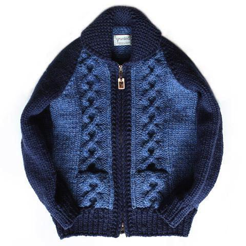 Stadium Cable Knit Zip - Indigo