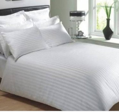 100% cotton White Satin Stripe  (90X108 )1 Bed sheet and 2 Pillow covers Hotel Bedsheet