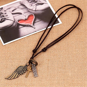 Creative Men's Women's Jewelry Vintage Cross Angel Wing Pendant Necklace Long Leatherintothea-intothea