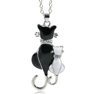 Cute Double Kitty Design pendant necklace Fashion Women Charming Alloy Chain Necklaceintothea-intothea