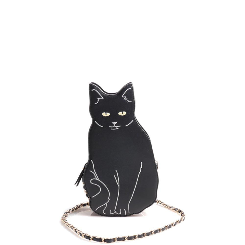 New BLACK CAT novelty crossbody chain bag Women's Girl Street Fashion Animalintothea-intothea