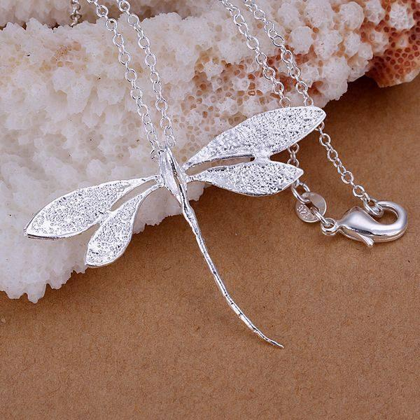 wholesale silver plated pendant,925 fashion Silver jewelry dragonfly pendants necklace for women/menintothea-intothea