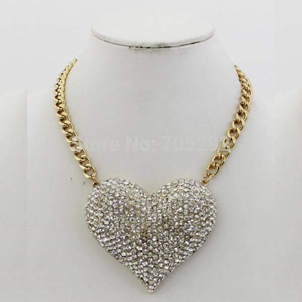 New Vintage Gold Red /Clear Rhinestone Heart Necklace & Pendant Fashion Chokerintothea-intothea