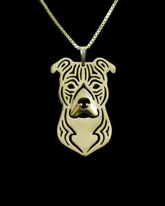 Gold & silver 1PCS cartoon Boho Chic Alloy American Staffordshire Terrier necklaceintothea-intothea