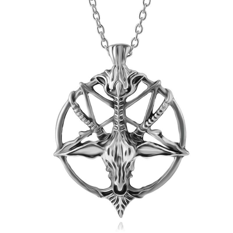 Fashion Inverted Pentagram Goat Pan God Skull Head Pendant Necklace Satanism Occultintothea-intothea