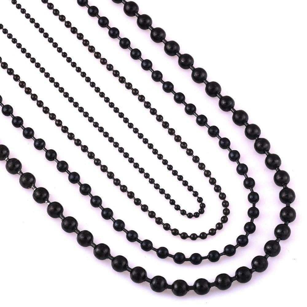 Width 1.5mm/2.0mm/3.2mm/4.5mm Black Stainless Steel Ball Chain For Charm Pendant Waterproof Matchintothea-intothea