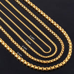 Width 2mm/3mm/4mm/5mm Gold Stainless Steel Round Box Link Chain Never Fade Waterproofintothea-intothea